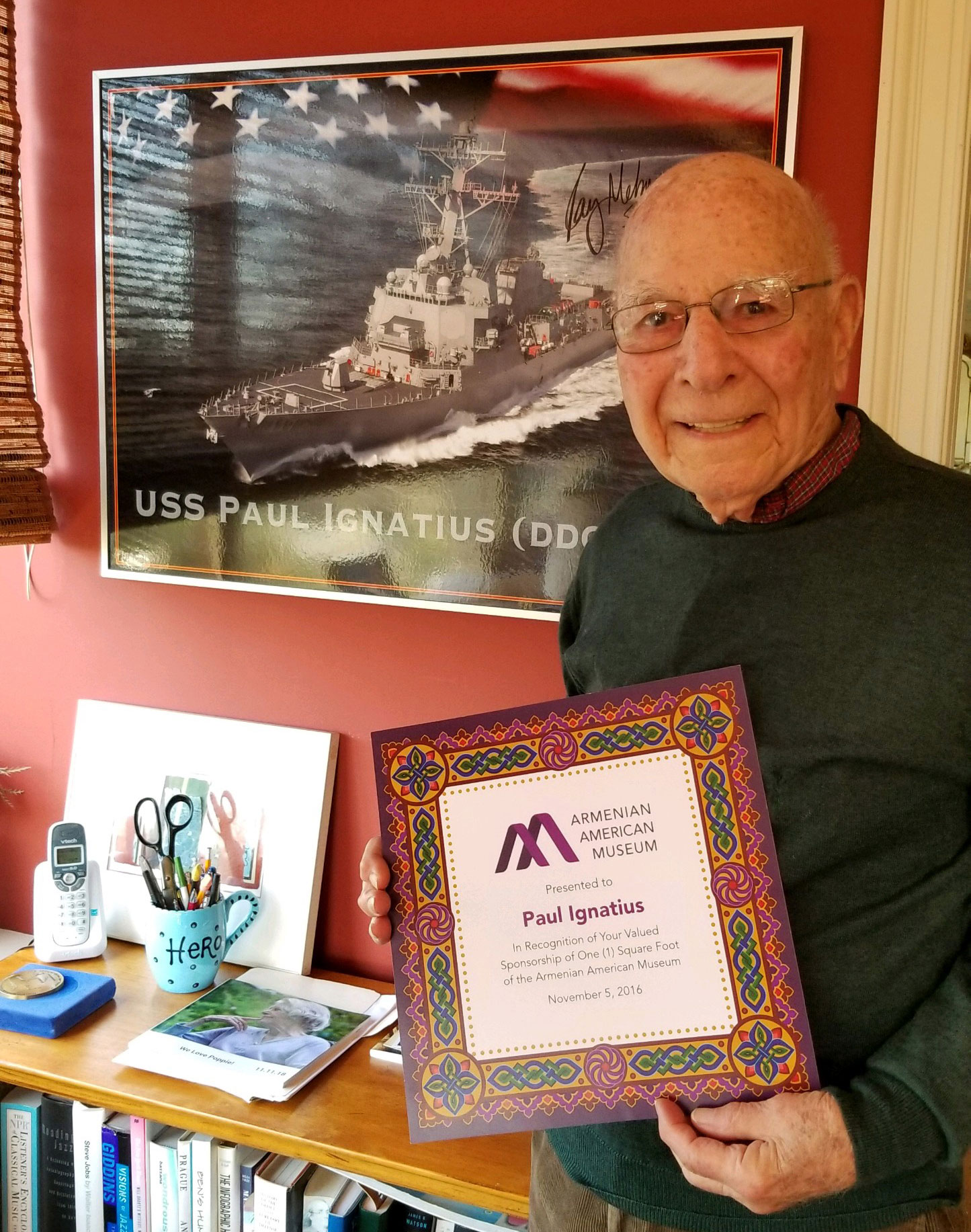 Former Secretary of Navy Paul Ignatius Presented with First Armenian American Museum Square Foot Certificate
